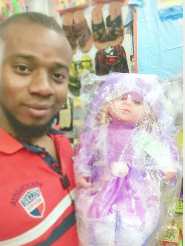 Nigerian guy buys 'baby doll', says he can't afford the N800,000 adult one..