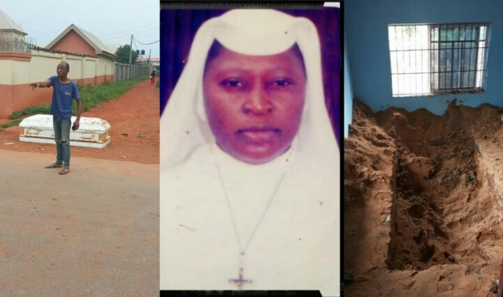 Angry Villagers Dig Up Corpse Of A Man Who Was Buried Buy His Daughter, Rev. Sister Maria Amadeus Egbuonu, Against The Wishes Of The Community In Anambra State