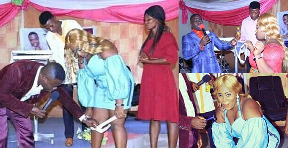 """Lady whose pant was removed by """"Pastor"""" reacts over trending suggestive photos."""