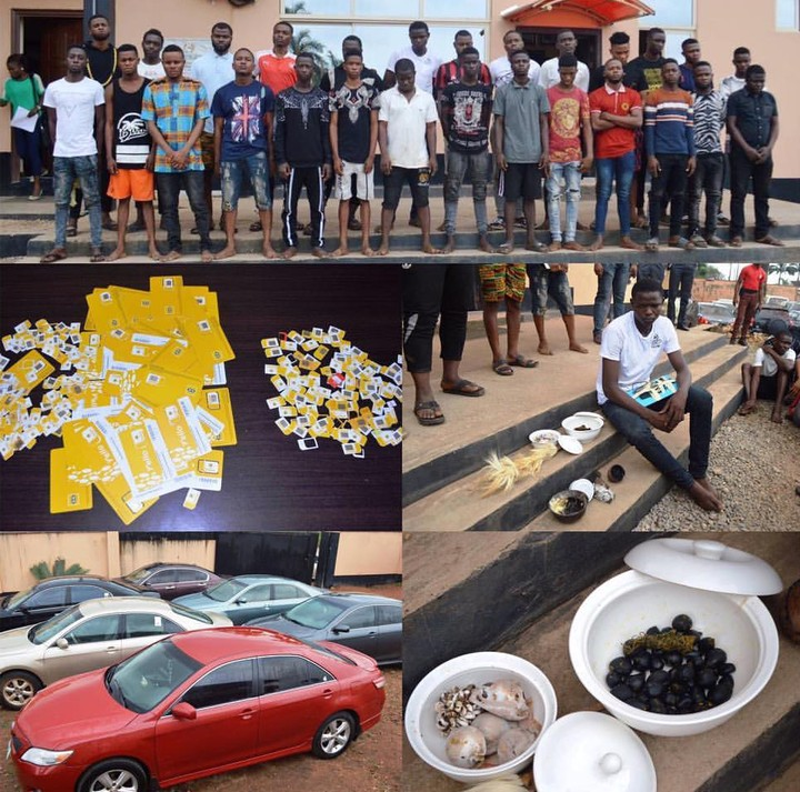 EFCC Parades 34 OOU Students With Charms Over Alleged Fraud