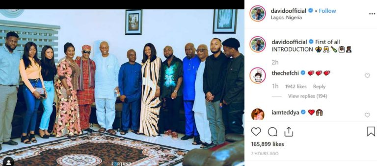 Davido set to wed Chioma, shares photo from their marriage introduction… See date for traditional wedding