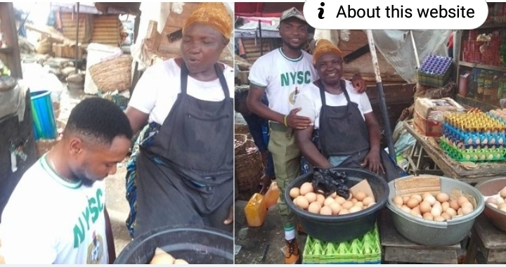 Youth Corps Member shows off his mother who sold eggs to see him through university (Photos)