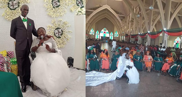Lady In Wheelchair Weds In Abuja. Her Bridal Train Also In Wheelchairs (Photos)