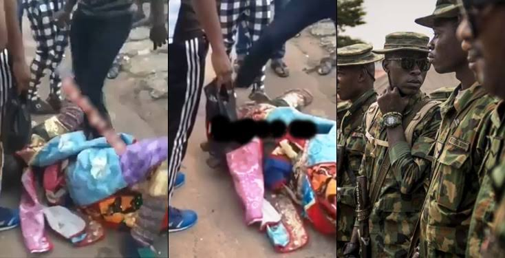 Masquerade receives beating of his life after attacking soldier in mufti (Video)