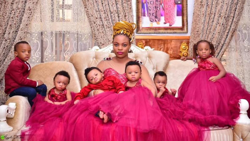 Nigerian mum with a set of quadruplets, celebrates their first birthday with beautiful photos