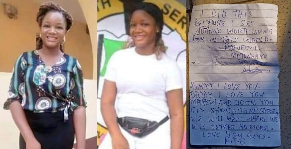 Corps member leaves note before taking her own life.