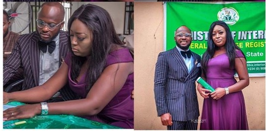 Comedian Igosave legally weds his fiancée, Iyabo