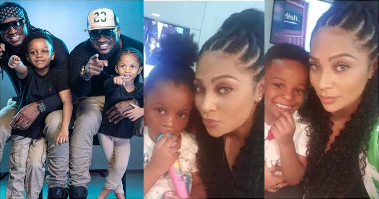 Peter Okoye's wife showers love on Paul's twins despite the animosity between the brothers