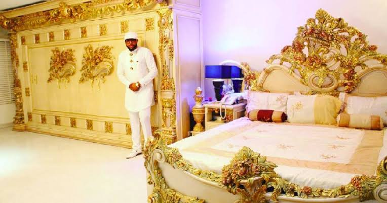 E-money shows off his golden bedroom in luxurious new home
