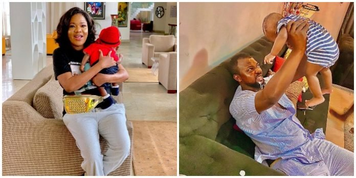 It feels so special seeing my baby vomit on my husband' – Toyin Abraham