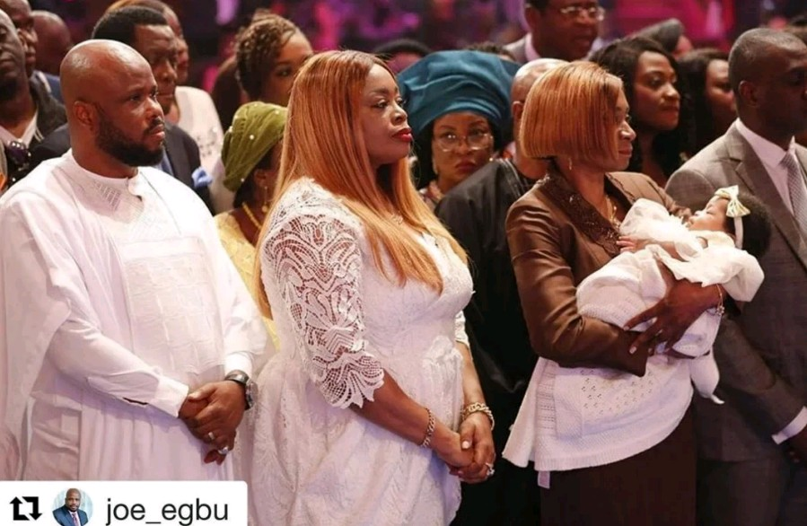 Gospel Singer, Sinach and her husband dedicate their child during mid-week service