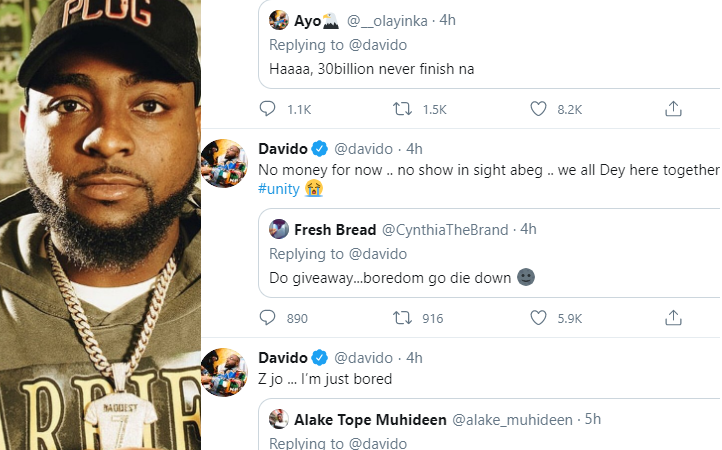 """No money for now… no show in sight abeg"""" Davido tells followers asking him to do giveaway during Coronavirus lockdown"""